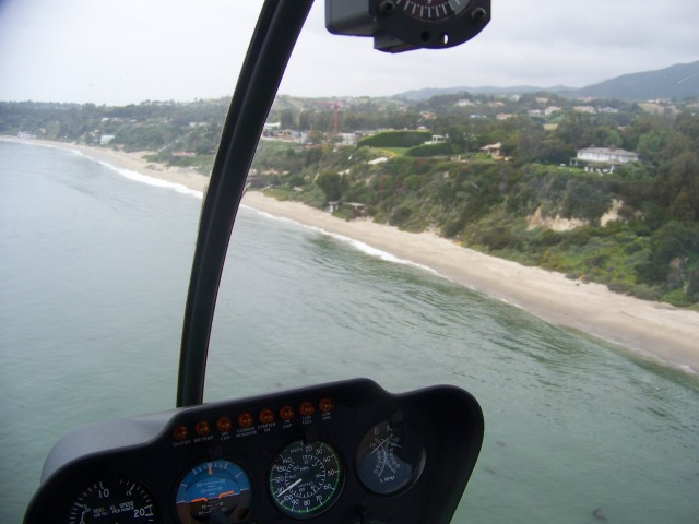 Malibu coast from the helicopter wedding