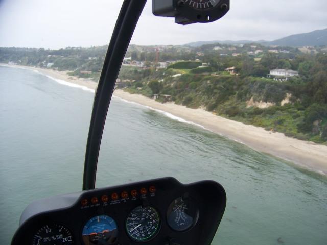 Malibu coast from the helicopter wedding