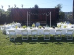 Boxcar backdrop to the reception